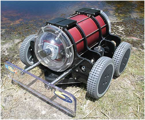 The HullBUG is a robotic crawler that navigates the underwater portion of a ship to remove accumulated layers of biofilm