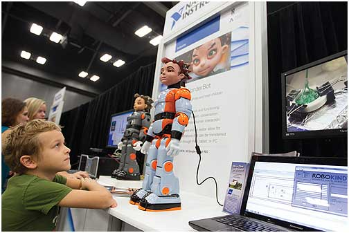 Zeno, created by Hanson RoboKind and using an NI Single-Board RIO device and LabVIEW, helps diagnose and treat children with autism.
