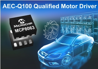Microchip Motor driver MCP8063 is automotive AEC-Q100-qualified, highly integrated and compact; provides high performance and high current