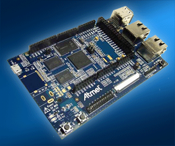The Atmel SAMA5D3 Xplained Eval Kit available  from Mouser explains Linux