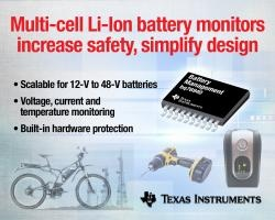 Multi-cell battery monitors increase safety, protection for 12-V to 48-V industrial Li-ion batteries