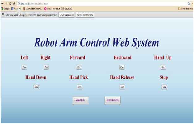 Fig 15. Robot Control Page
