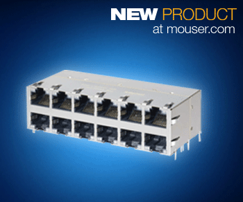 Molex RJ45 PoE+ Gigabit Magnetic Jacks with LEDs Available from Mouser