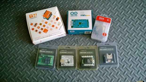 Arduino kits and shields.