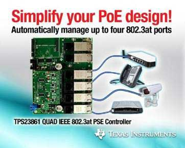 TI speeds Power over Ethernet development with next-generation PSE controller