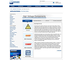 New Mouser Electronics High Voltage Technology Site available on Mouser.com