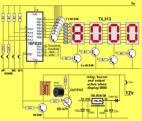 Digital Counter Circuit Diagram | 4 Digit Up Down Counter Electronics Maker