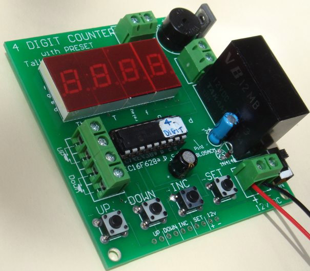 Up/Down can be controlled remotely and the buzzer sounds  when the display is 0000.  All the switches and power can be taken to a control panel via  the pins on the bottom of the board.