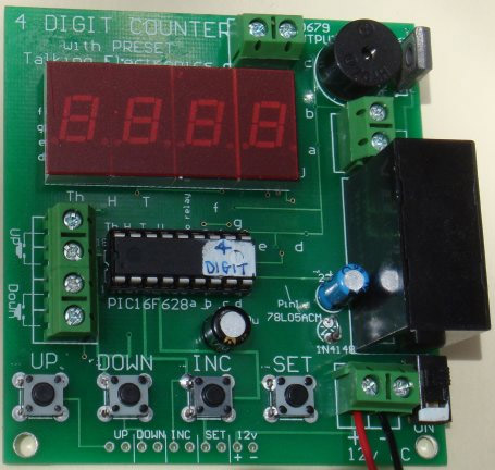 The project uses a PIC16F628 chip and the drive-lines are connected to transistors to produce a bright display. All the components are on the underside of the board.