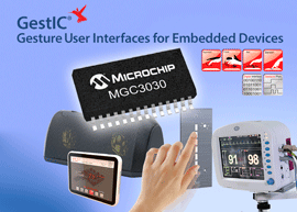 New Microchip GestIC® controller enables one-step design-in of 3D gesture recognition in embedded devices