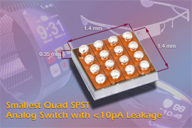 Vishay Intertechnology's Monolithic Quad SPST Analog Switches for Wearable Applications