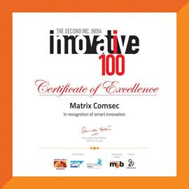 Matrix Comsec Awarded as one of India's 100 innovative SME Company by INC. Magazine