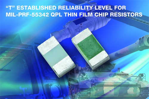 """Vishay Intertechnology Enhances E/H Series MIL-PRF-55342-Qualified Thin Film Resistors With """"T"""" Level Failure Rate"""