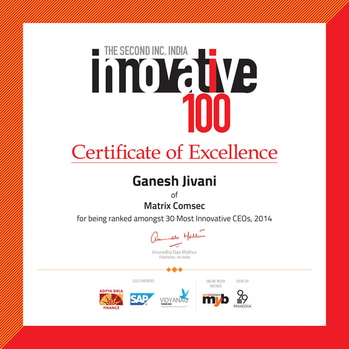 Mr. Ganesh Jivani, CEO, Matrix Comsec recognized as one of India's top 30 Innovative CEOs by INC