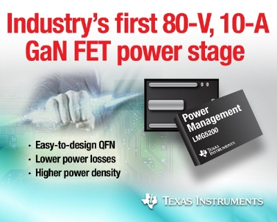 TI reveals industry's first 80-V half-bridge GaN FET module