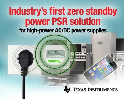 TI unveils industry's first zero standby power PSR solution for high-power AC/DC power supplies