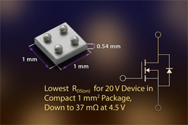 New Vishay Intertechnology 20 V Chipscale MOSFET
