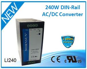 MORNSUN Released 240W DIN-Rail AC/DC Converter LI240-10B24