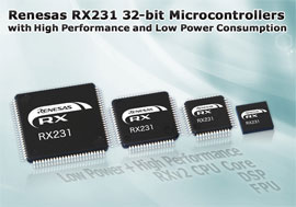 Renesas Electronics Delivers Industry-Leading Power Efficiency and Digital Filtering Capabilities for Industrial Sensor and Healthcare Design with RX231 Microcontrollers