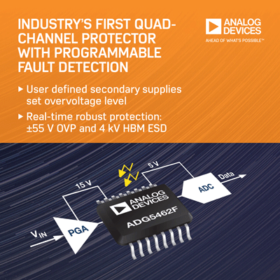 Analog Devices Launches Industry's First Quad-Channel Protector and Multiplexers with Programmable Fault Detection