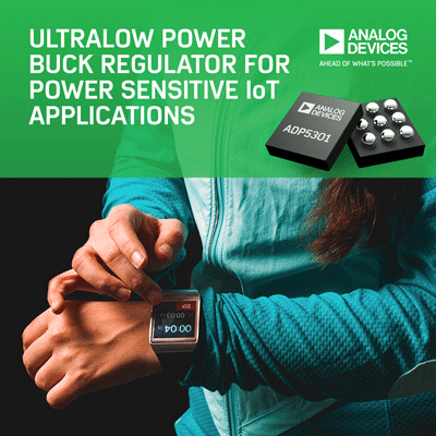 Ultralow Power Buck Regulator Achieves Industry's Highest Power Conversion Efficiency to Boost Battery Life for IoT Applications