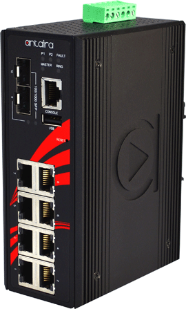 10-Port Industrial PoE+ Gigabit Managed Switches