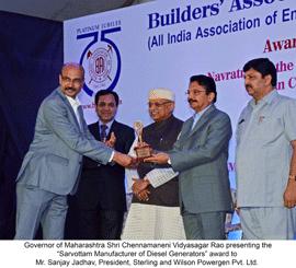 Sterling Generators Receives 2015 Navratna Award from Builders' Association of India