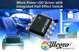 Allegro MicroSystems, LLC Announces Micropower LED Driver with Integrated Hall-Effect Switch