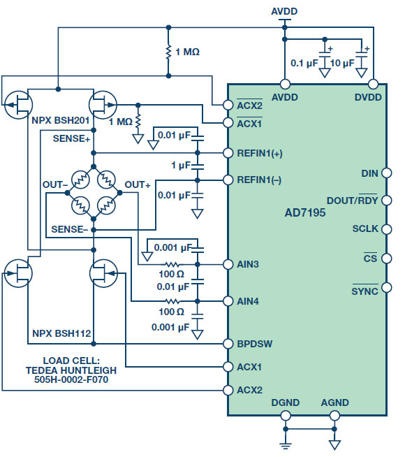 Figure 8.CN-0155—Precision weigh scale design usng a 24-bit Σ-Δ ADC with internal PGA and ac excitation