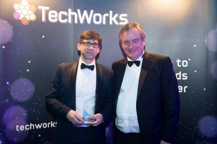 Ian Lankshear (left) EnSilica's MD, receiving the TechWorks Award from Peter Lockhart, CTO of Roke Manor Research