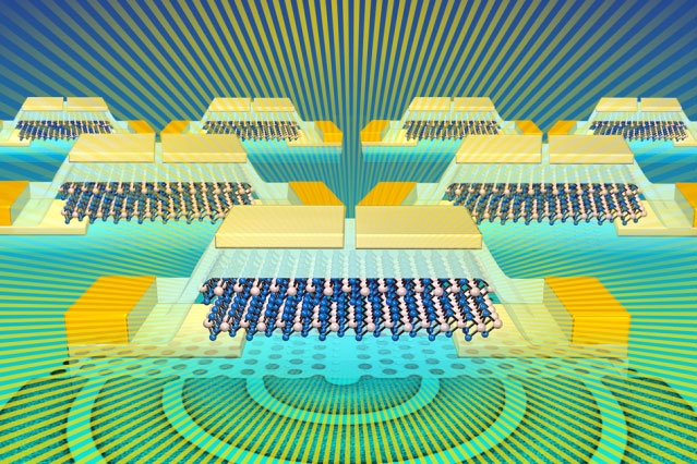 esearchers have designed a light-emitter and detector that can be integrated into silicon CMOS chips. This illustration shows a molybdenum ditelluride light source for silicon photonics.  Image: Sampson Wilcox