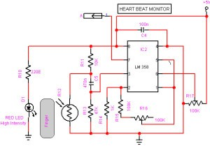 heart beat sensor with arduino heart pulse measurement electronicsthe heart beat sensor circuit diagram comprises a light detector and a bright red led the led needs to be of super bright intensity because maximum light
