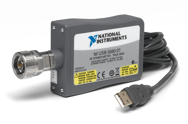 Figure 1: As a true RMS power meter, the NI USB 5680 is ideal for measuring the power of continuous wave signals and measuring path loss in automated test applications