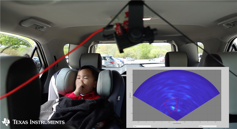 Figure 1: Child occupancy detection inside a car using a TI mmWave sensor. The mmWave sensor is suspended from the sunroof. The detection is shown in the graph visualization as a heat map.