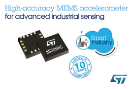 STMicroelectronics Adds New High-Accuracy MEMS Sensors with 10-Year Product Longevity for Advanced Industrial Sensing