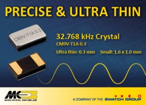 Micro Crystal ultra-thin 32.768 kHz Crystal improves oscillator reliability