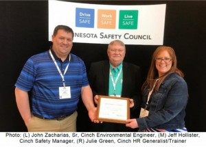 Cinch Connectivity Solutions Earns Governor's Safety Award for Second Consecutive Year