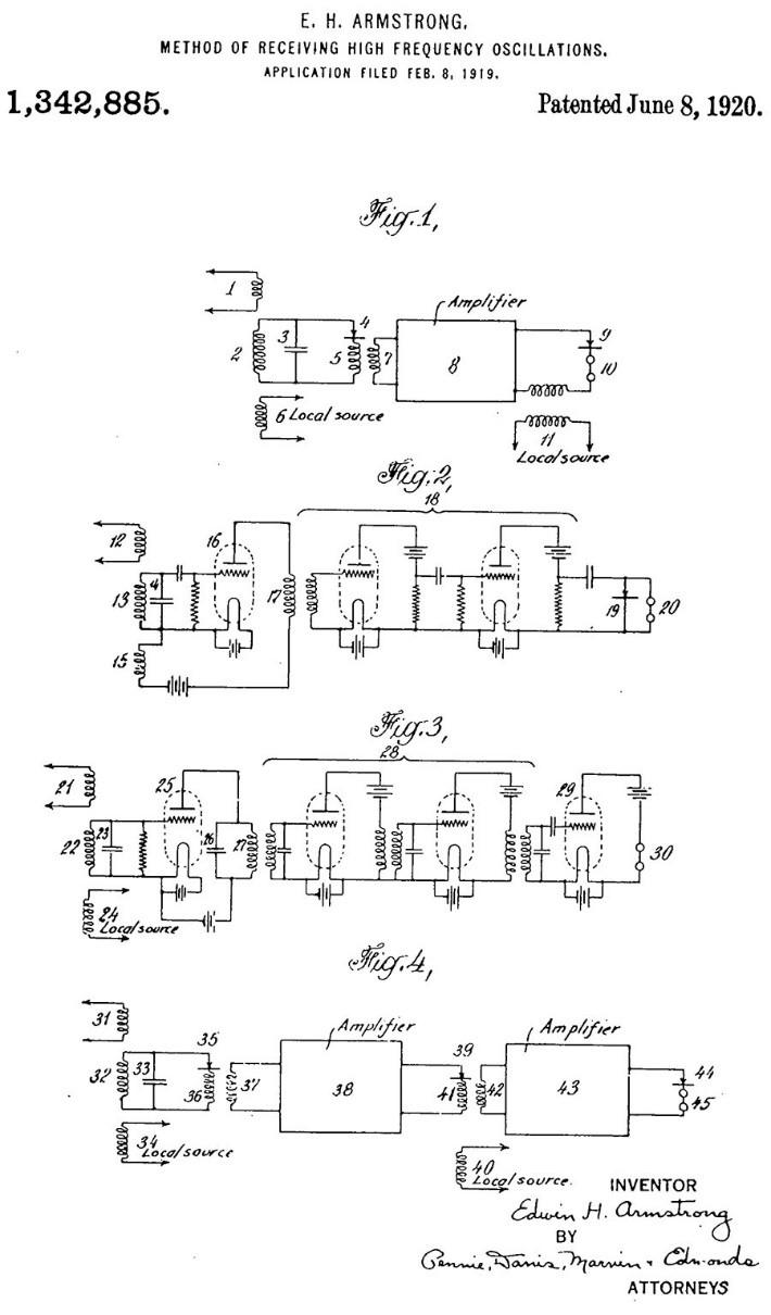 Figure 13. Superheterodyne patent figures.