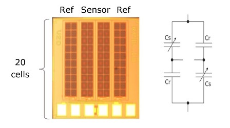 Fig 4: The cell structure of the capacitive sensor enables differential measurements with very low temperature drift