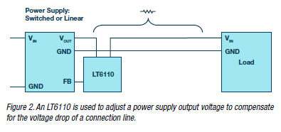 An-LT6110-is-used-to-adjust-a-power-supply-output-voltage-to-compensate-for-the-voltage-drop-of-a-connection-line.