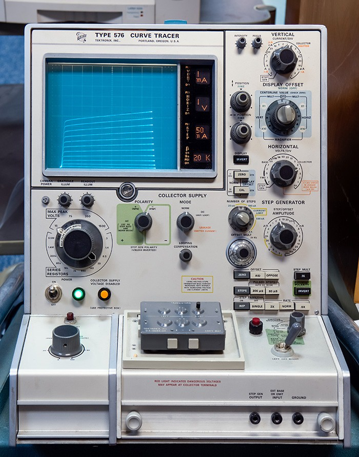 The Tektronix Type 576 curve tracer was introduced in 1969. The vintageTEK museum uses this particular example for repairs in its restoration room. More details can be found here.