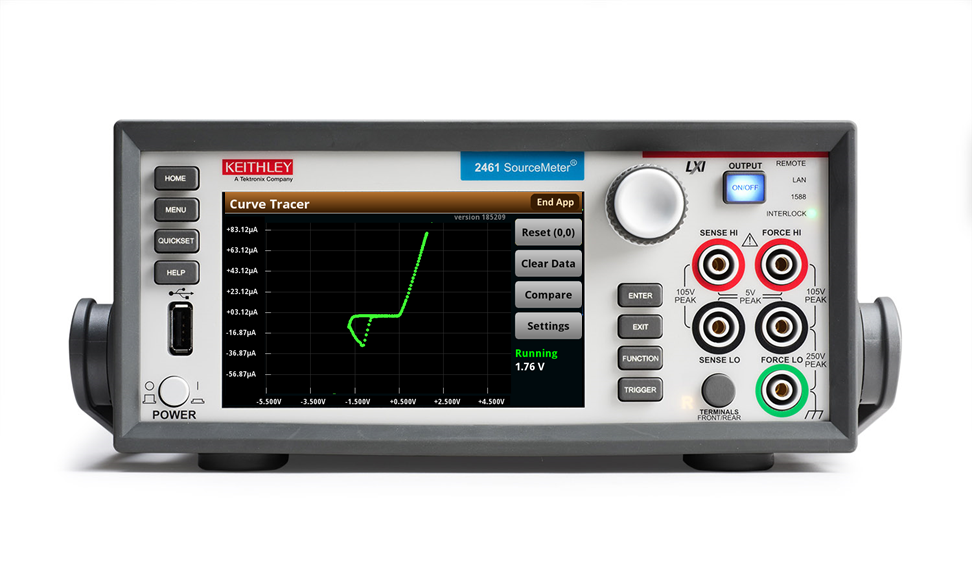 Keithley I-V Tracer software leverages the touchscreen interface of 2400 Series Graphical SMUs to recreate the familiar user experience of a curve tracer for low-power two-terminal devices.